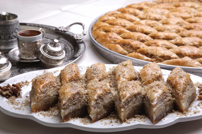 Coffee and Baklava. Coffe and Baklava on a Ramadan preparation royalty free stock images