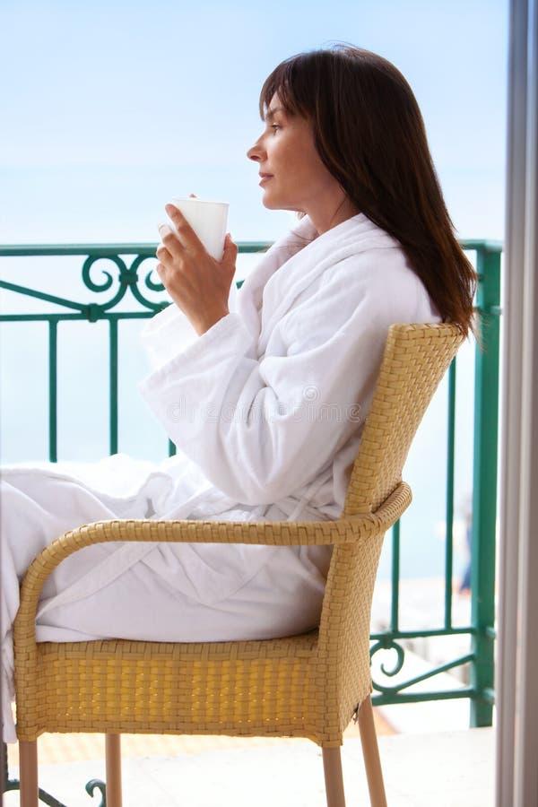 Coffee at balcony royalty free stock photography