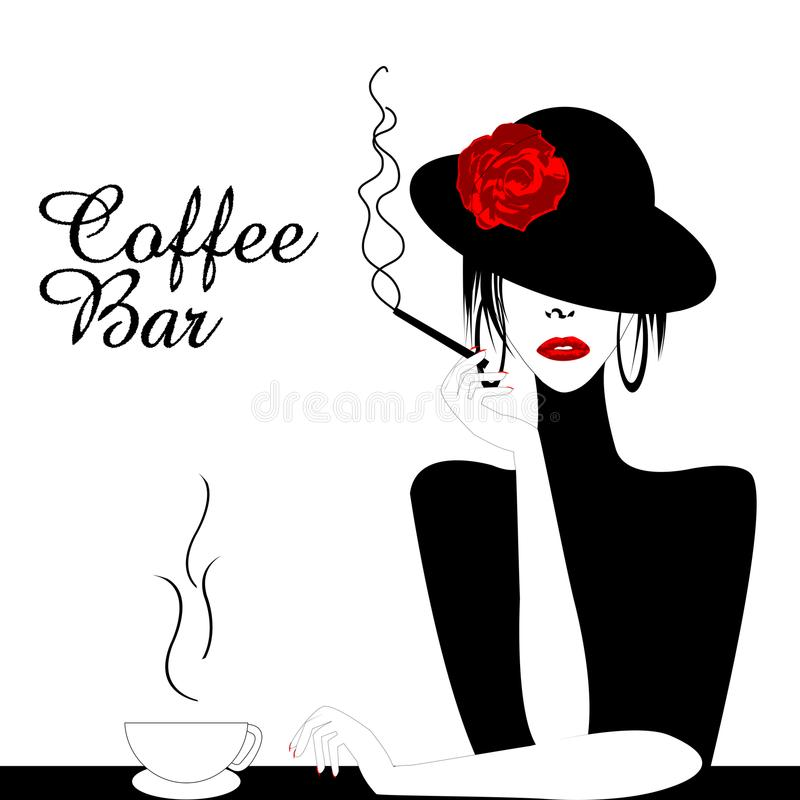 Coffee Bar Illustration with woman smoking cigarette royalty free illustration