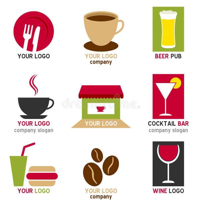 Coffee and Bar Logos Set. Collection of nine colorful coffee and bar logos or icons, isolated on white background. Eps file available stock illustration