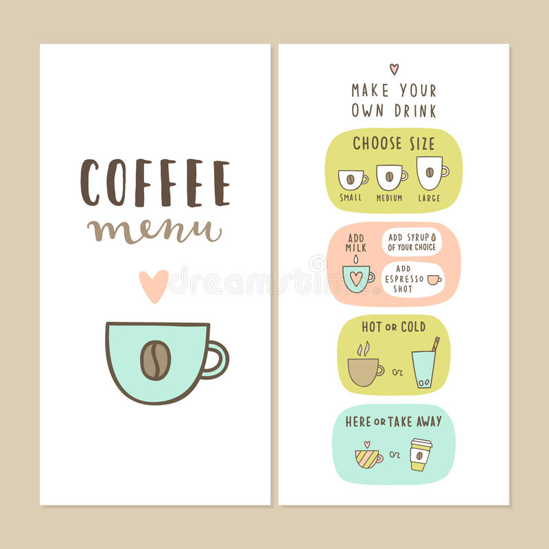 coffee bar menu template stock vector illustration of coffee