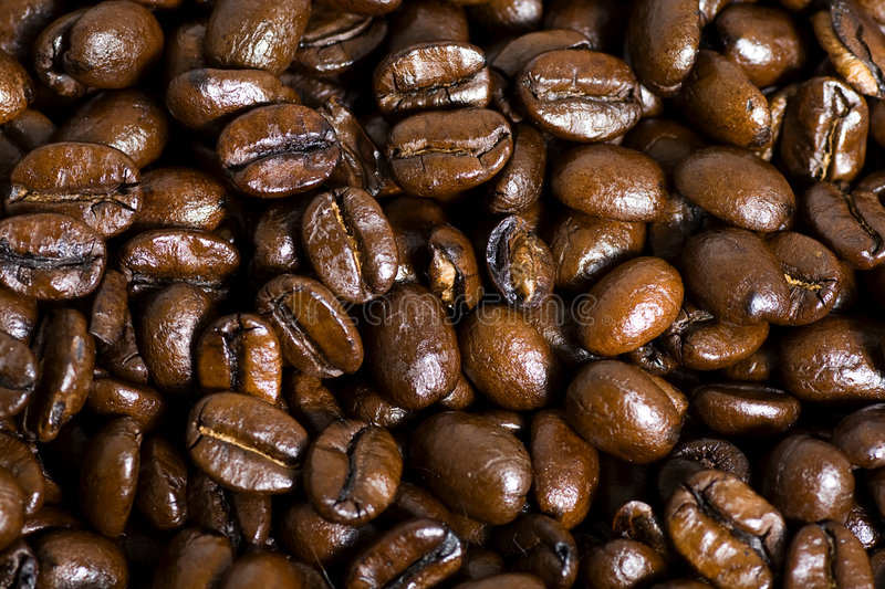 Coffee Bean Background. Roasted coffee bean macro background stock photography