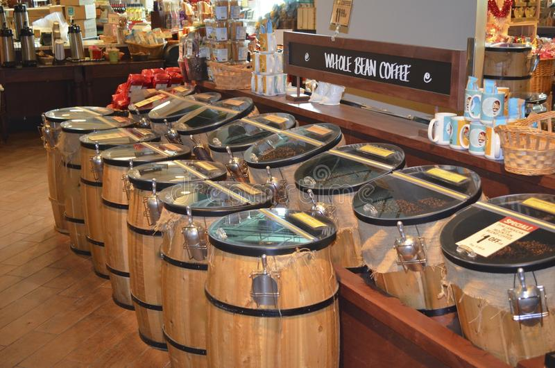 Coffee Bean Barrels royalty free stock image