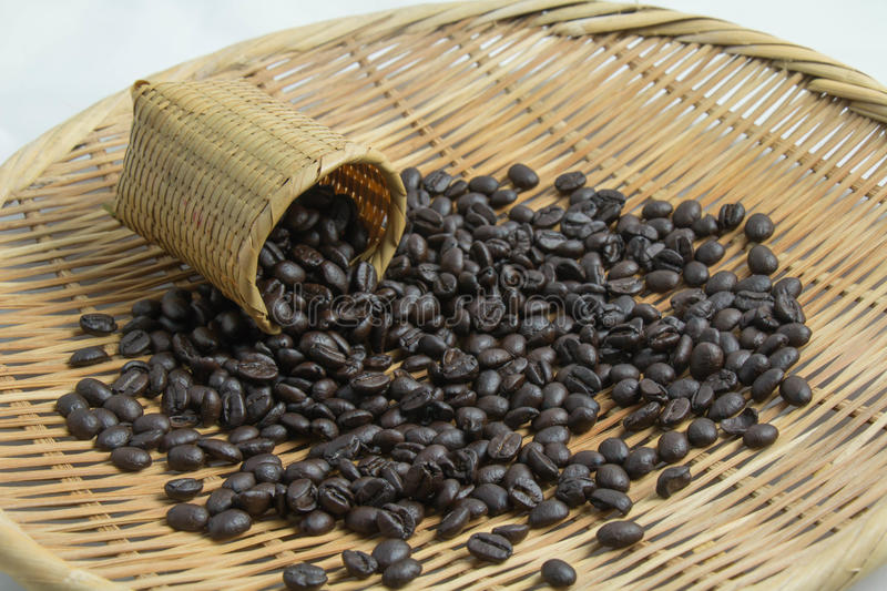 Coffee bean in basket royalty free stock photo