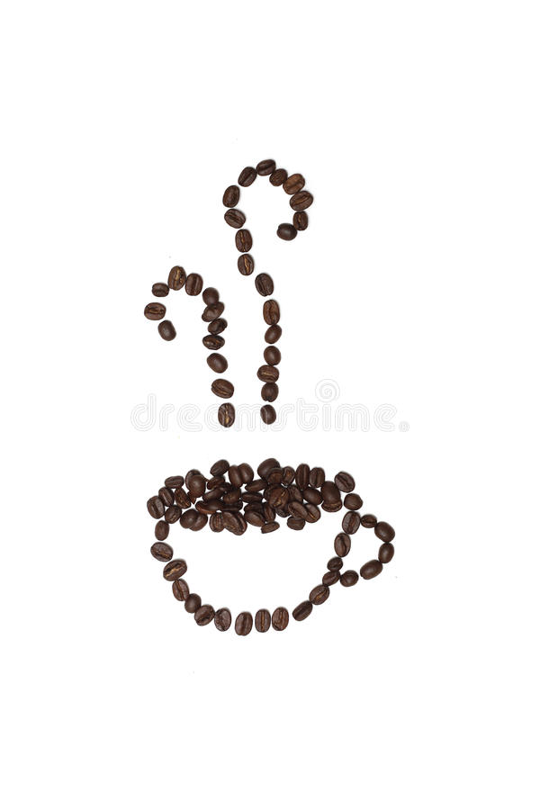 Coffee Bean Cup Outline. Outline of a cup of coffee and the steam rising from it, made entirely from coffee beans. Isolated against a white background. Copy stock photography