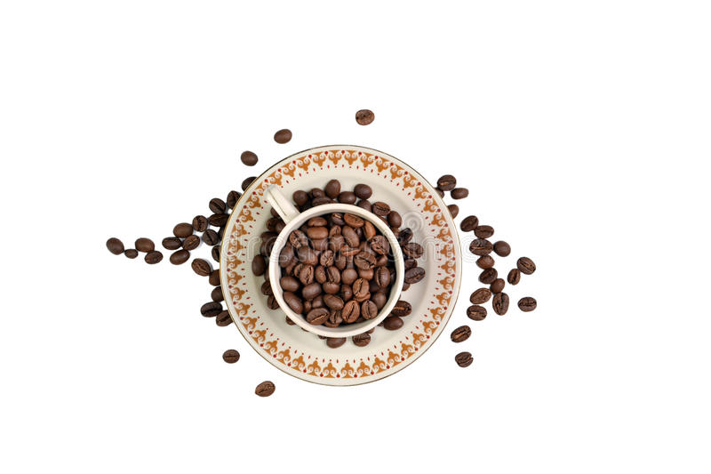 The Coffee Bean. Cup on White Background royalty free stock images