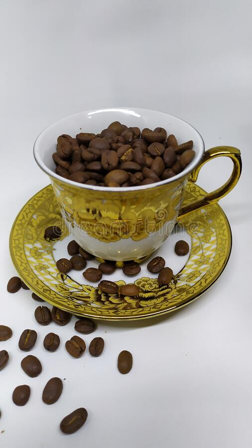 Coffee bean golden tea cup royalty free stock image