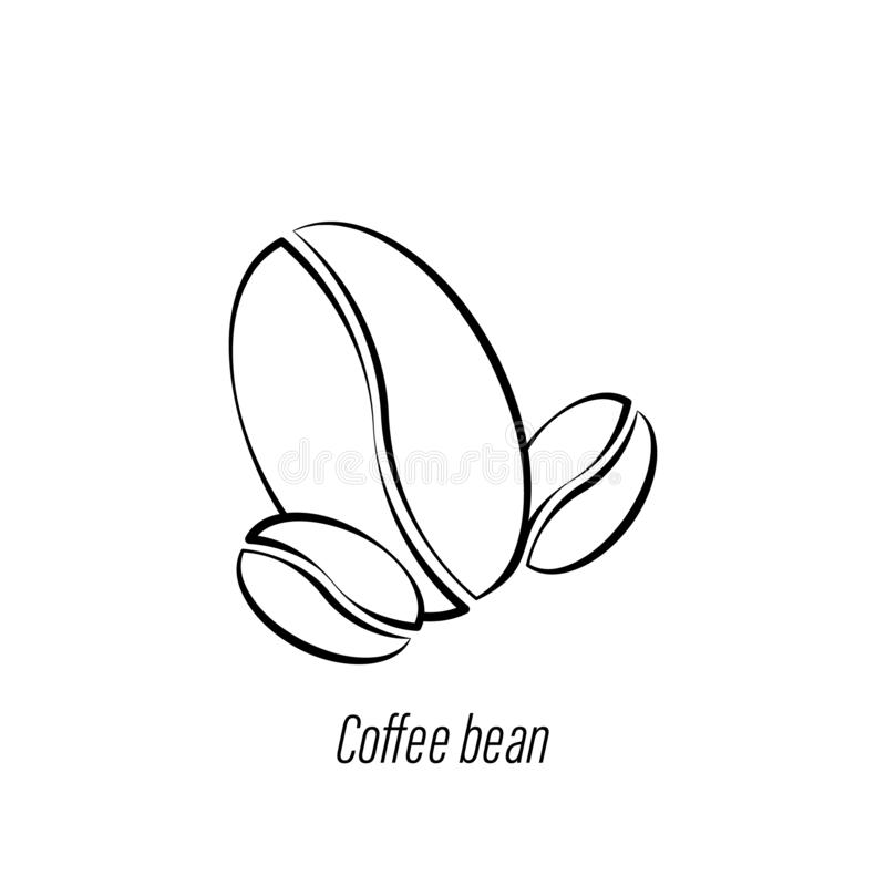 Coffee bean hand draw icon. Element of coffee illustration icon. Signs and symbols can be used for web, logo, mobile app, UI, UX. On white background royalty free illustration
