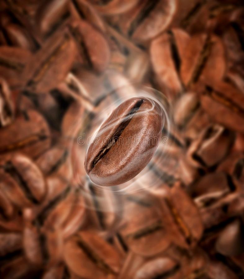 Coffee bean with hot steam. On a background of lots of coffee beans royalty free stock photos