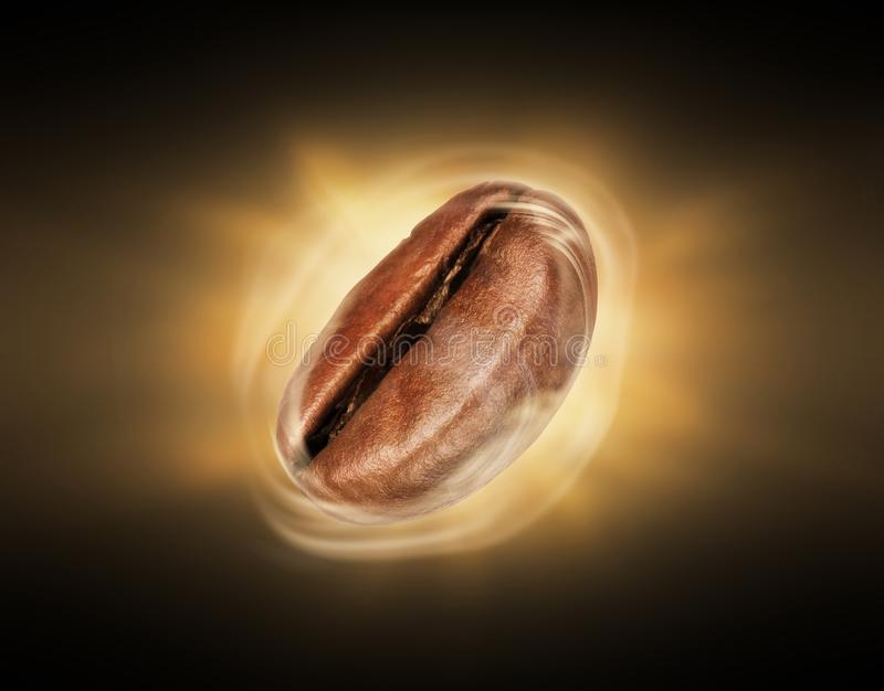 Coffee bean with hot steam close-up against a dark background.  stock photo