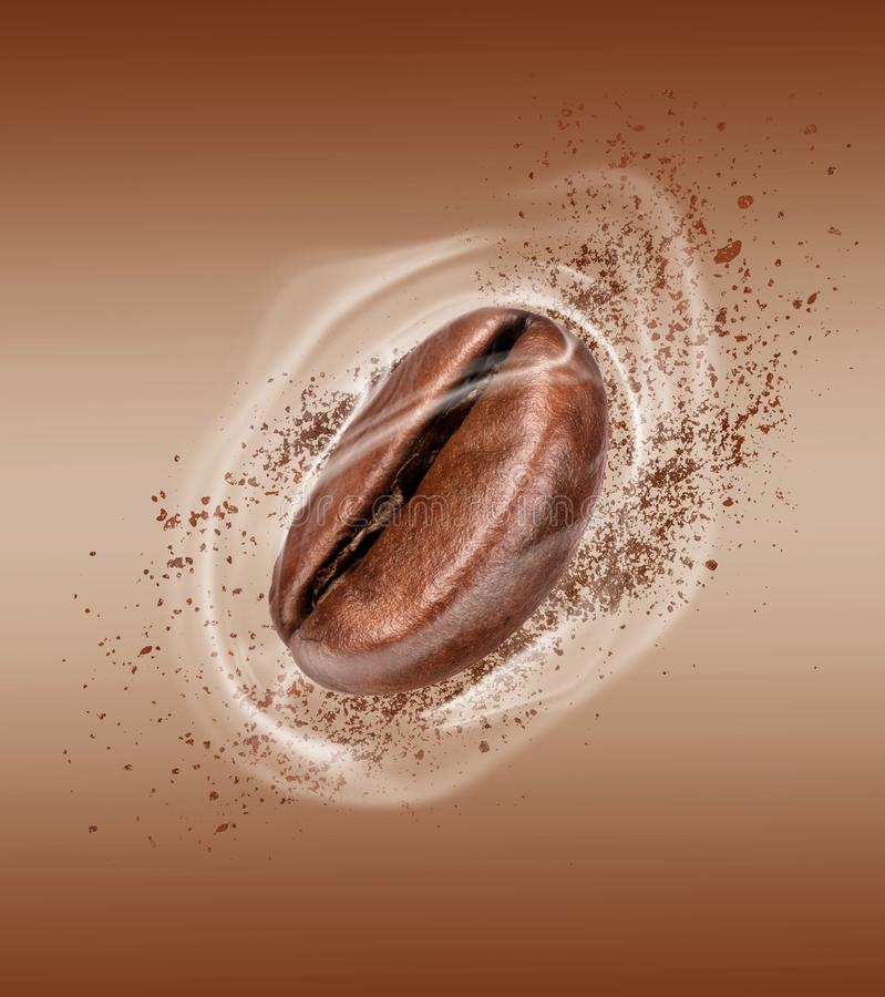 Coffee bean with hot steam close-up on a brown background.  stock photo
