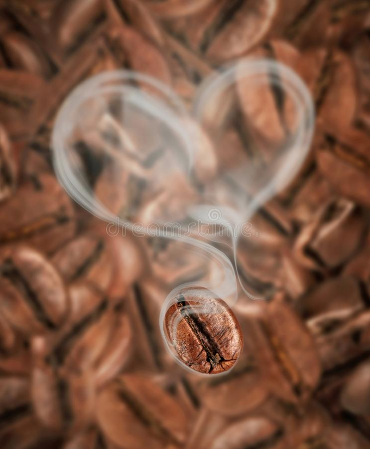 Coffee bean with hot steam in the shape of a heart close-up. On a background of lots of coffee beans royalty free stock photos