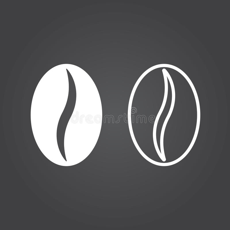 Coffee bean icon. Solid and Outline Versions. White icons on a d royalty free illustration