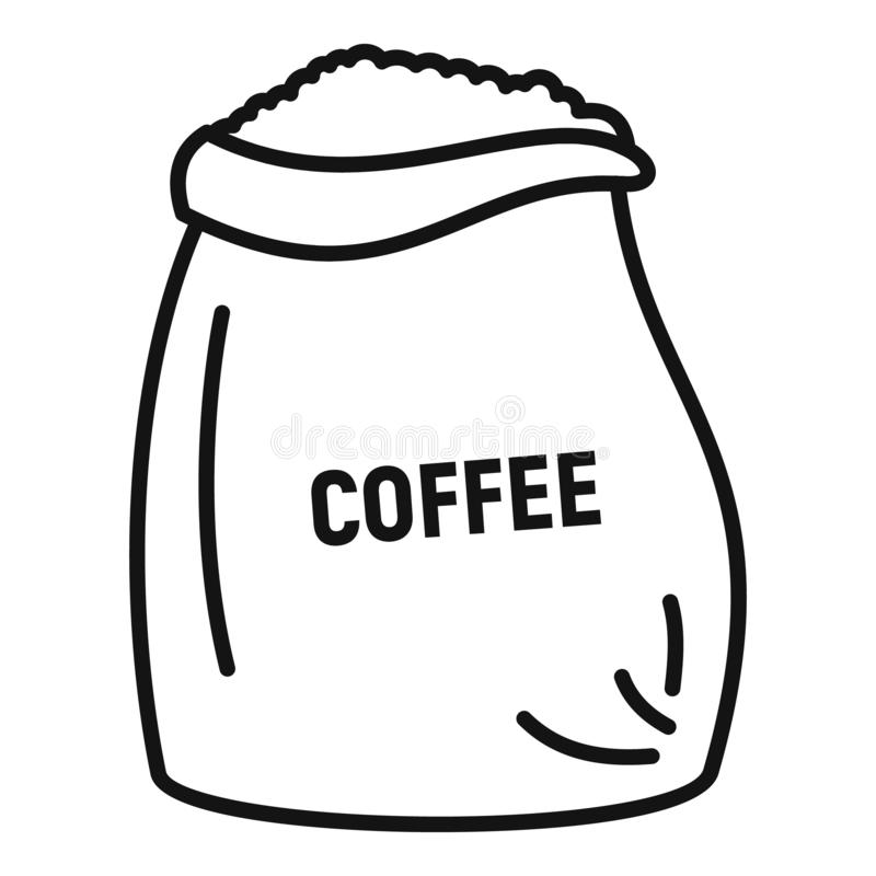 Coffee bean sack icon, outline style. Coffee bean sack icon. Outline coffee bean sack vector icon for web design isolated on white background vector illustration