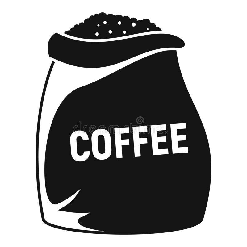 Coffee bean sack icon, simple style. Coffee bean sack icon. Simple illustration of coffee bean sack vector icon for web design isolated on white background royalty free illustration