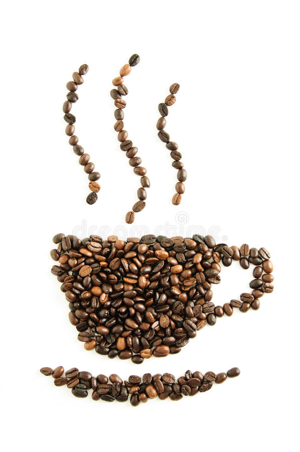Coffee Bean and Saucer Silhouette royalty free stock image
