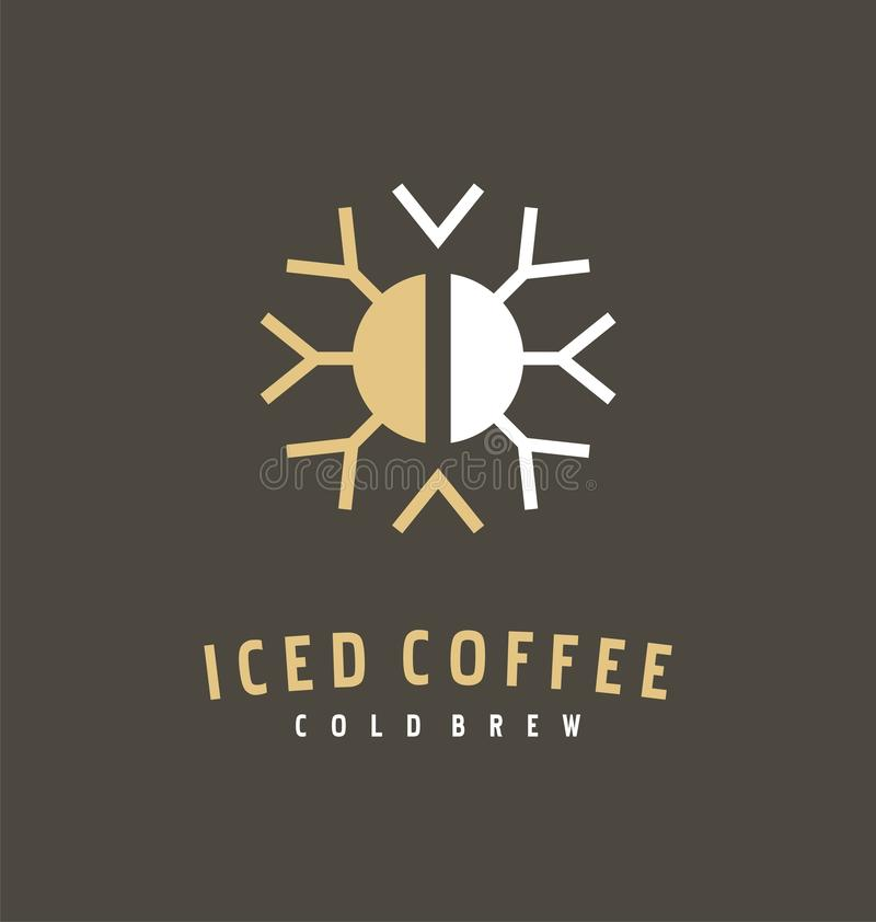 Coffee bean and snowflake logo design idea for iced coffee vector illustration