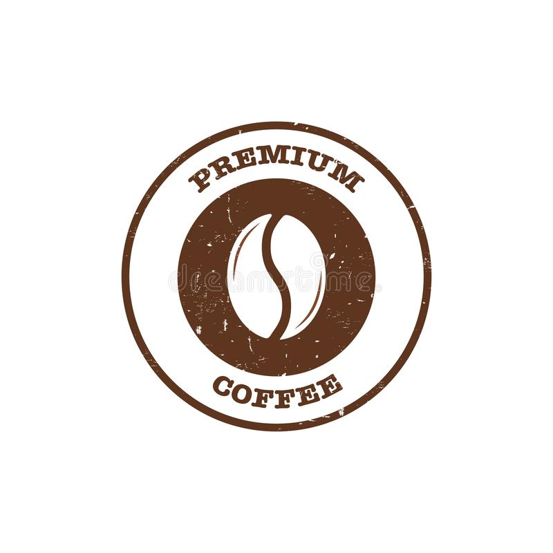 Coffee bean stamp with text premium coffee vector illustration