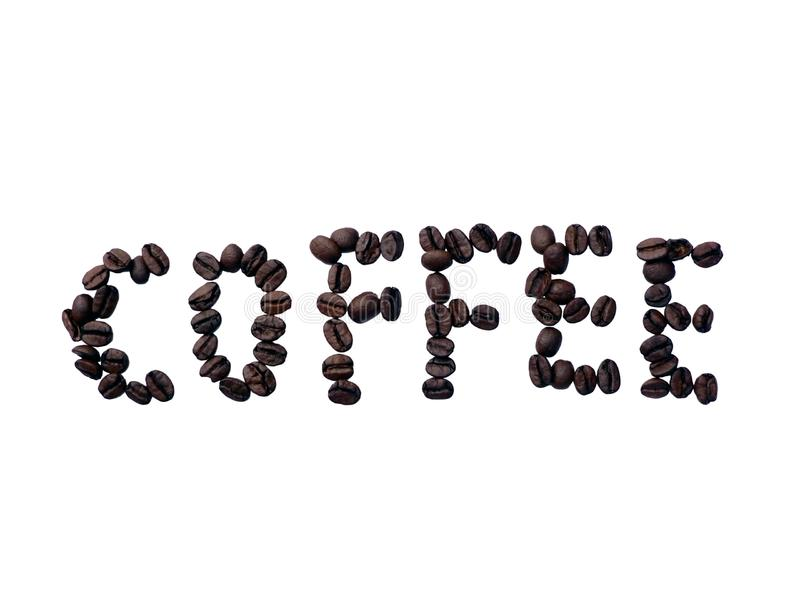 Coffee bean text stock photography