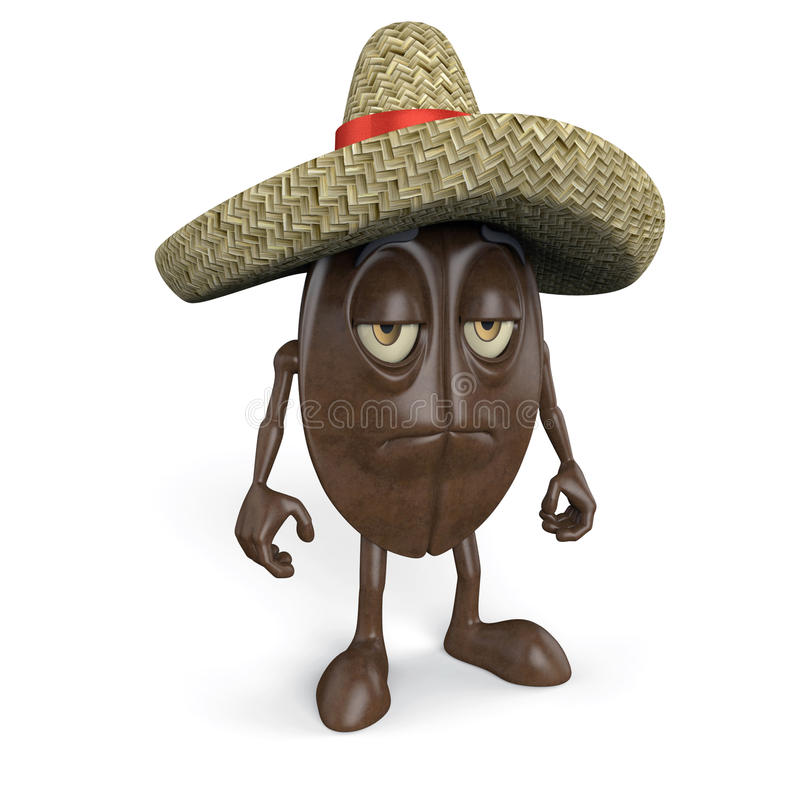 Download Coffee Bean Wearing Sombrero Stock Images - Image: 25579654