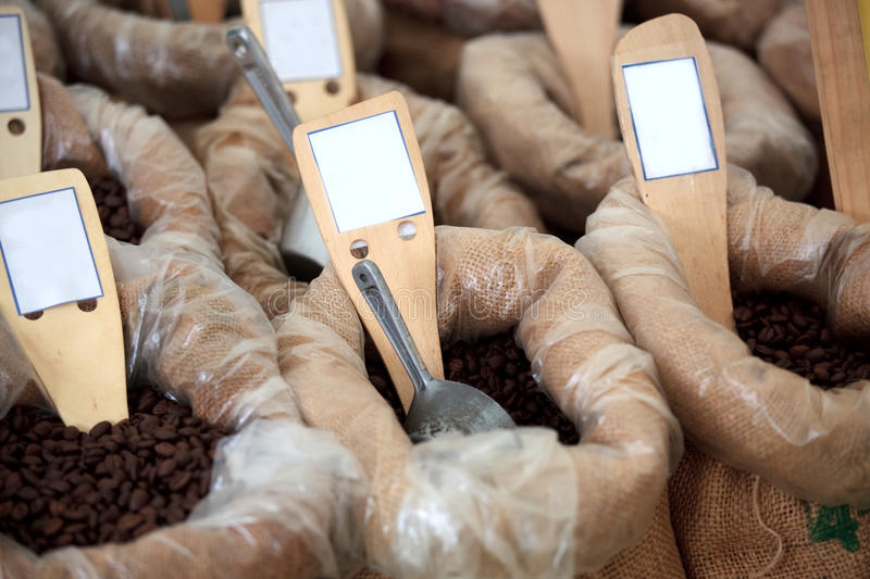 Coffee Beans. A photograph of coffee beans in sacks for sale royalty free stock images