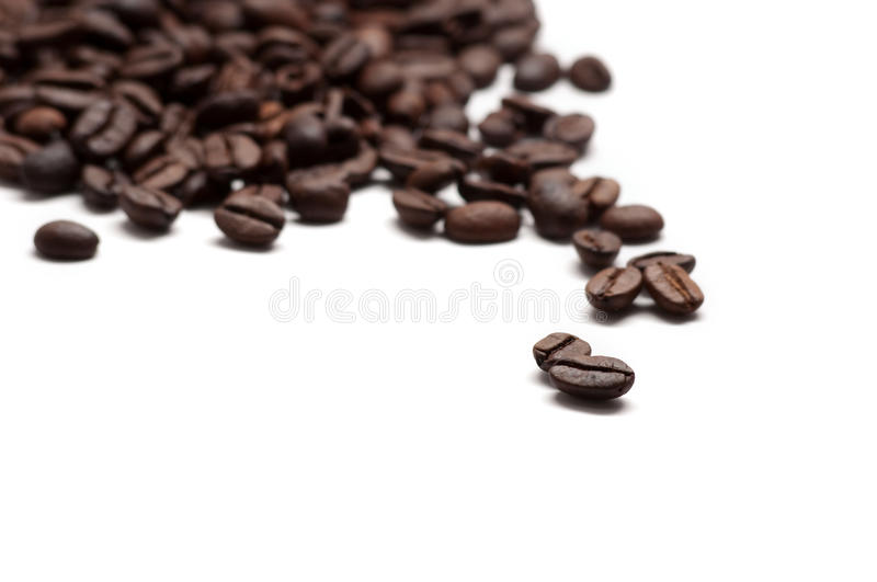 Coffee beans. Abstract image of coffee beans on white background stock photos