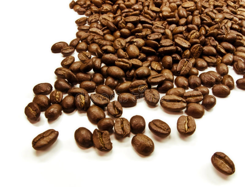 Coffee beans. Isolated on a white background stock photography