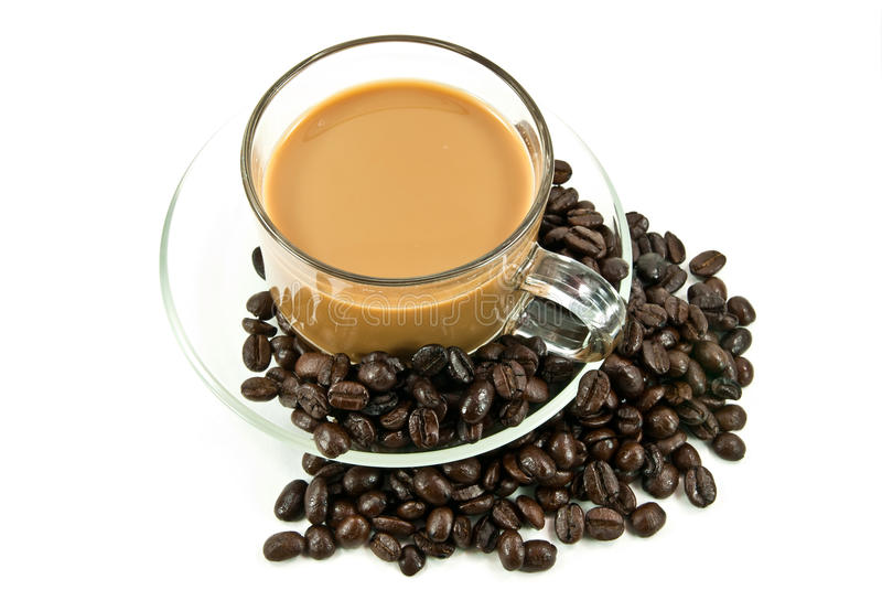 Coffee and beans. Cup of espresso and coffee beans royalty free stock photos