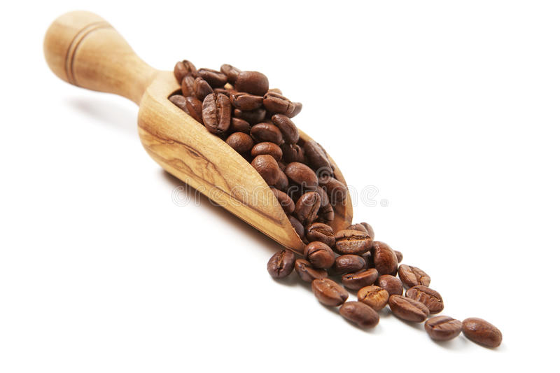 Coffee Beans. Poured from wooden scoop stock images