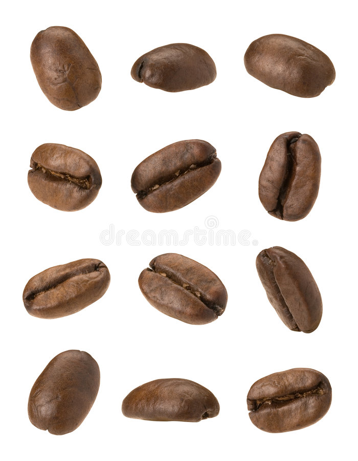 Coffee Beans. Isolated on a white background. Isolation is on a transparent layer in the PNG format stock images