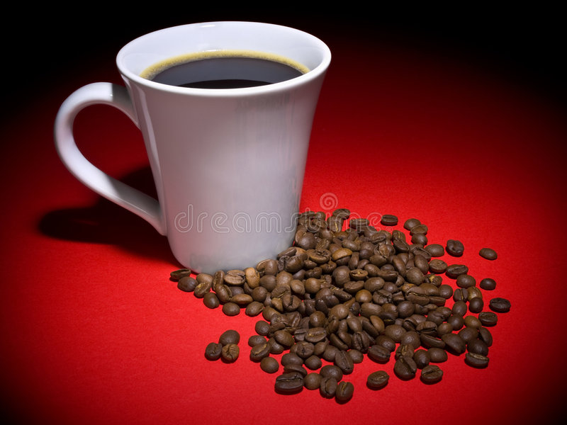 Coffee and beans stock photography