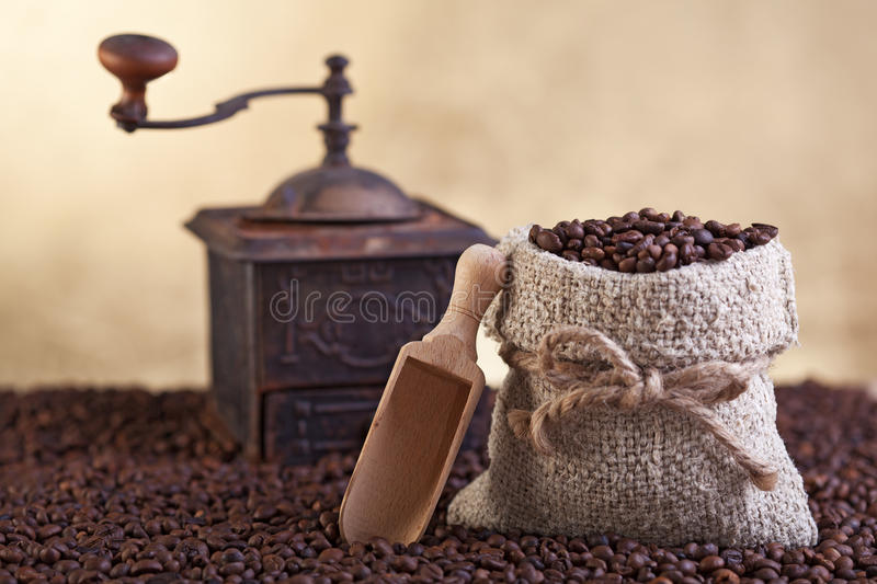 Coffee beans abundance. With small sack and old grinder stock image