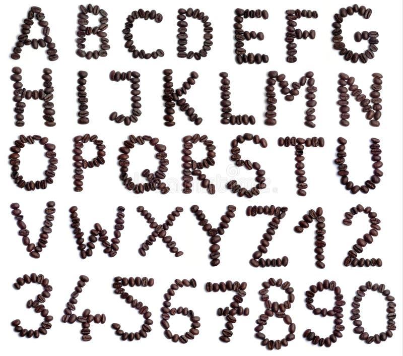 Coffee beans alphabet stock photo