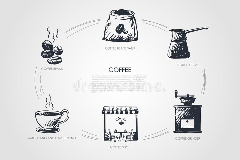 Coffee- beans, americano and cappucino, coffee shop, grinder, turkish cezve, bean sack vector concept set. Hand drawn sketch isolated illustration stock illustration
