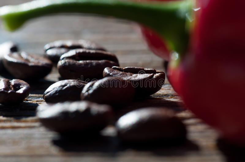Coffee beans arabica with chili pepper royalty free stock images