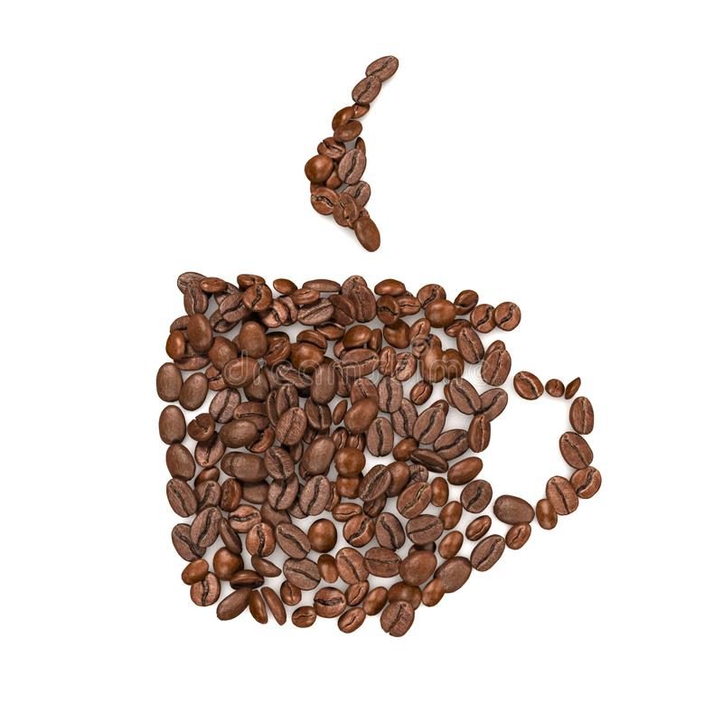 Coffee Beans Arranged Into Cup Shape - 3D Rendering vector illustration