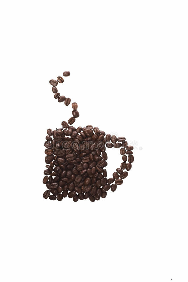 Coffee beans as cup. An overhead conceptual photograph of coffee beans making up a cup of coffee with steam royalty free stock photo