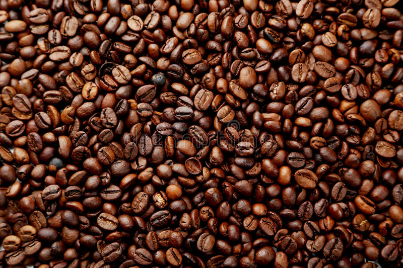 Coffee Beans Background Close Up Stock Photo