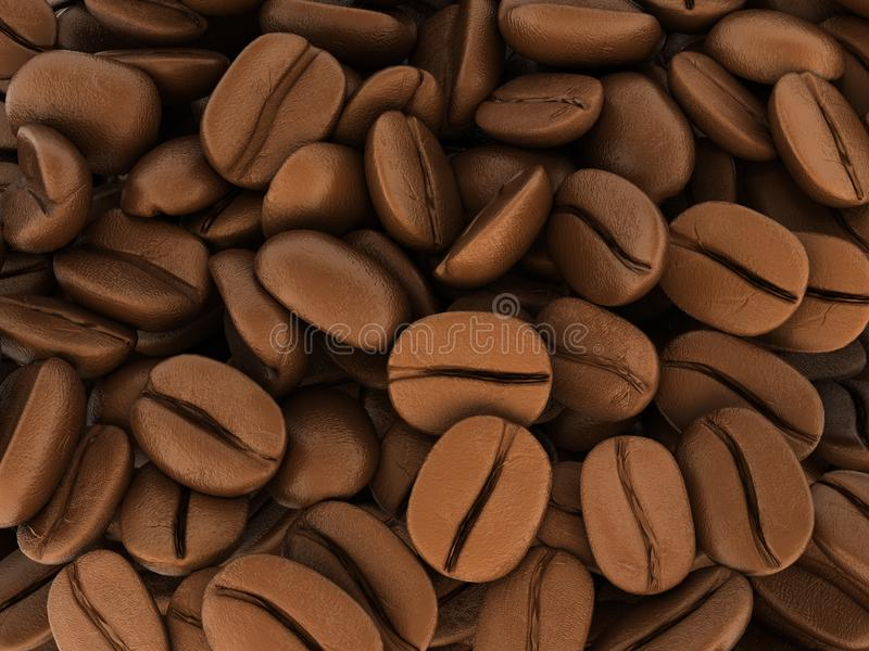 Coffee beans background 3d royalty free illustration