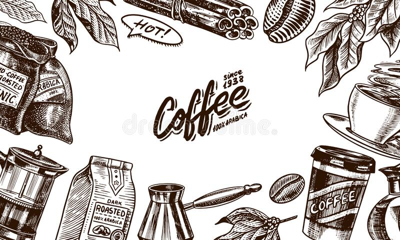 Coffee beans background in vintage style. Hand drawn engraved poster, retro doodle sketch. Cup and calligraphic stock illustration