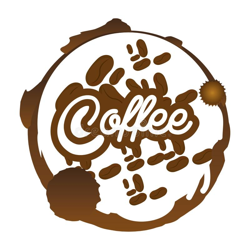 Coffee beans badge sticker royalty free illustration