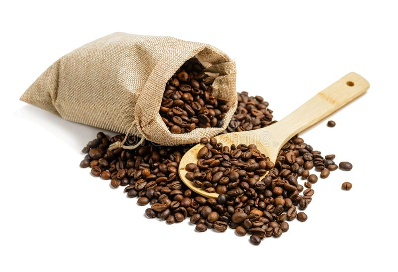 Coffee beans bag stock image