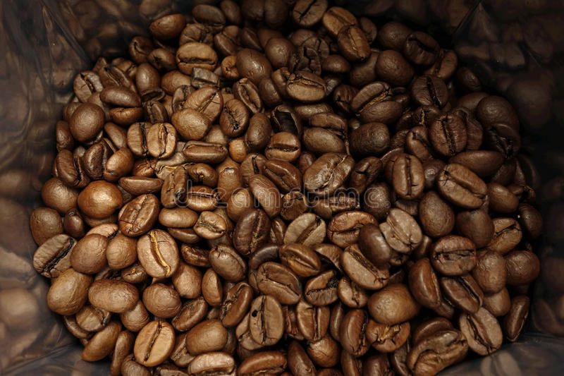 Coffee beans bag stock photo