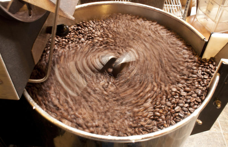 Download Coffee Beans Being Stirred In A Roaster Stock Photo - Image of cooling, stir: 26922904