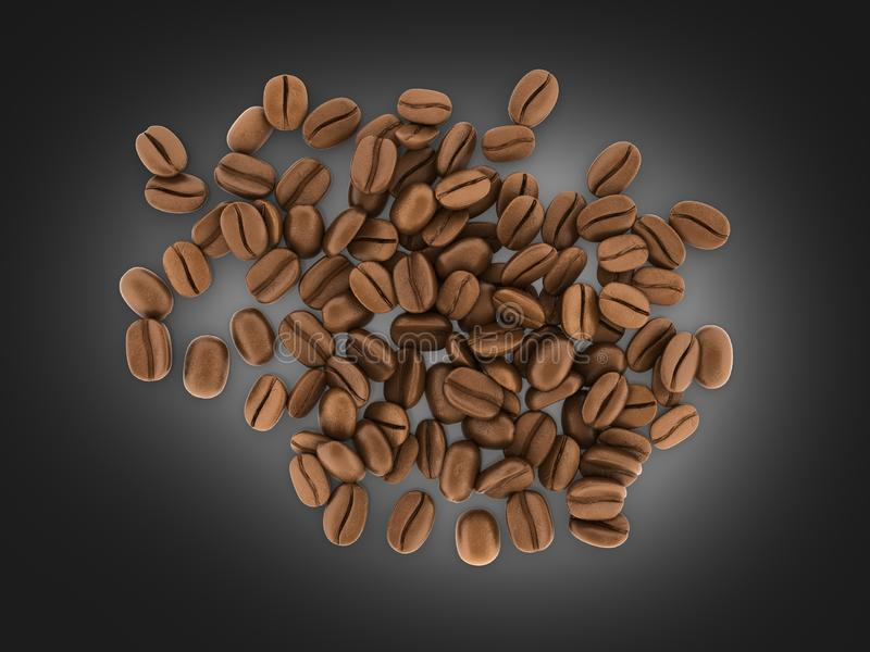 Coffee beans on black gradient background 3d vector illustration