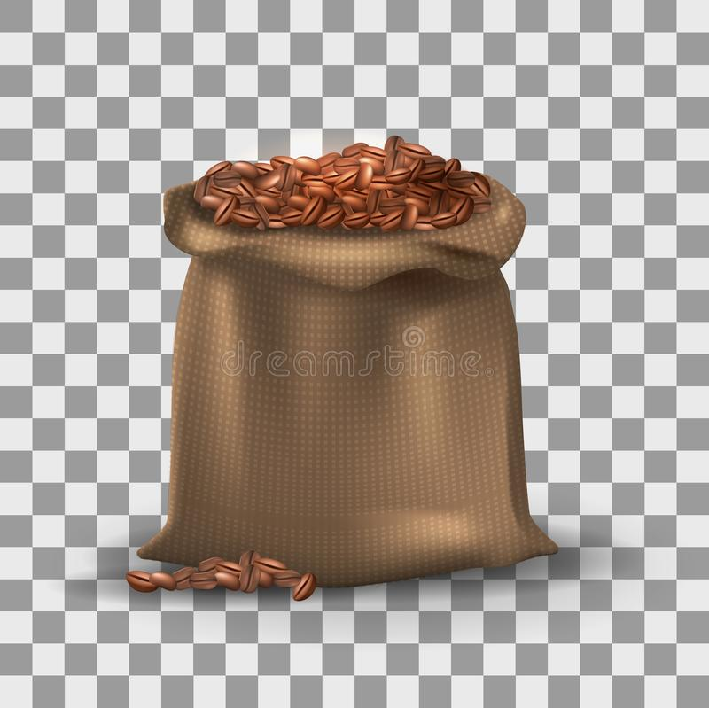 Coffee beans in brown burlap bag on the transparent effect background. vector illustration