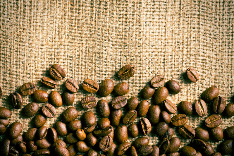 Download Coffee Beans On Burlap Background Stock Photo - Image: 30730012