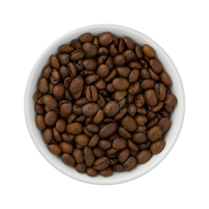 Coffee Beans in a Ceramic Bowl stock photos