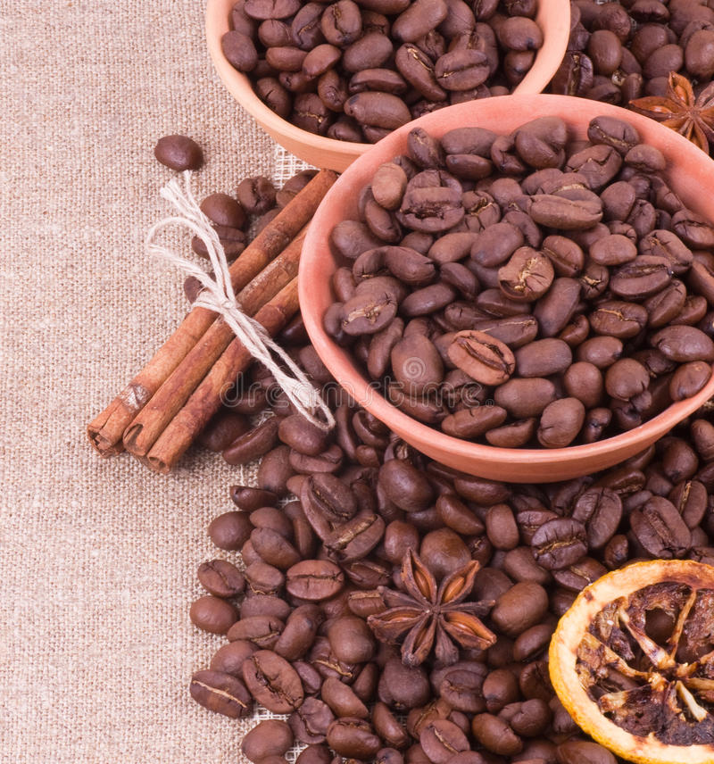 Download Coffee beans and cinnamon stock photo. Image of brown - 25450848