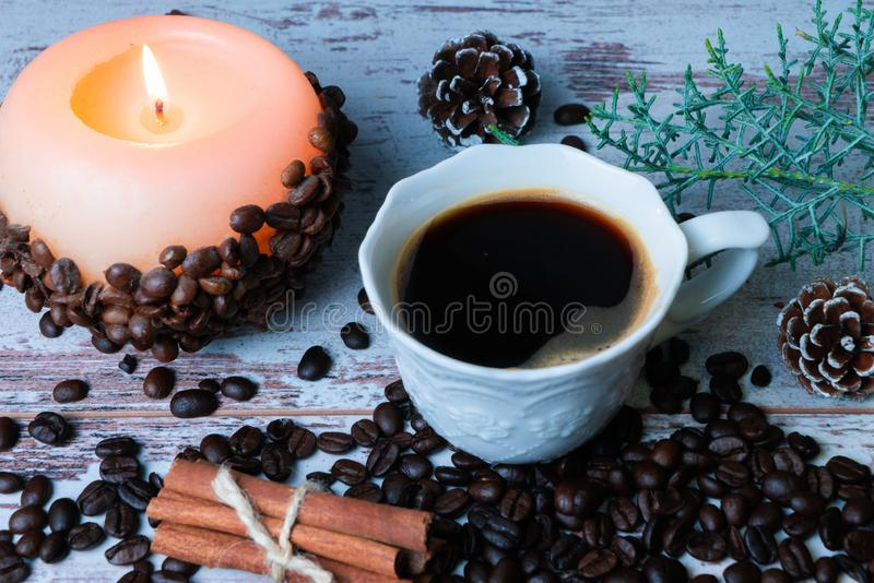 Coffee beans and candle stock photo